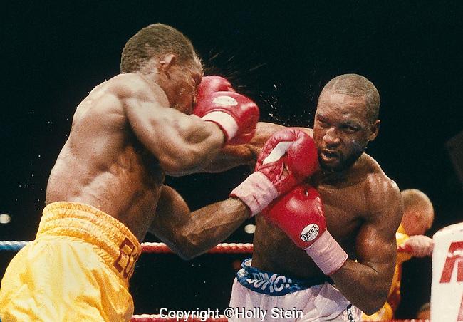Chris Eubank v. Nigel Benn.  D PTS 12.  WBC super middleweight title, WBO super middleweight title.
