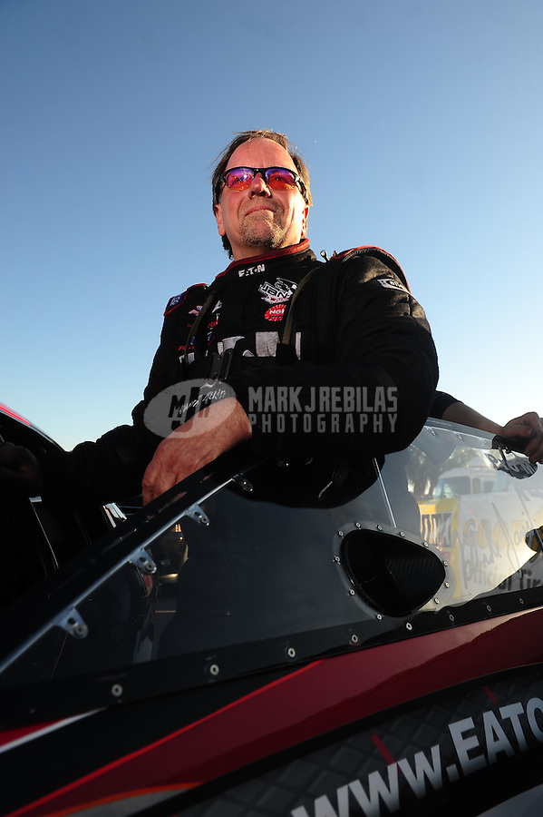 Mar. 12, 2011; Gainesville, FL, USA; NHRA pro mod driver Mike Janis during qualifying for the Gatornationals at Gainesville Raceway. Mandatory Credit: Mark J. Rebilas-.