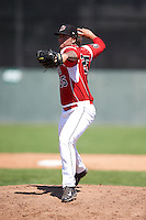 Batavia Muckdogs pitcher Ryan Hafner (25) delivers a pitch during a game against the Williamsport Crosscutters on July 16, 2015 at Dwyer Stadium in Batavia, New York.  Batavia defeated Williamsport 4-2.  (Mike Janes/Four Seam Images)