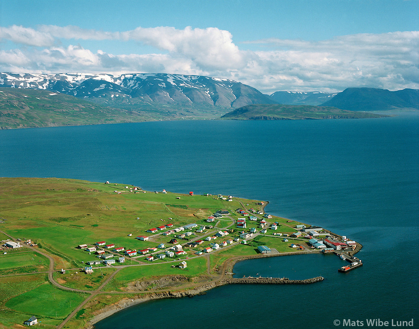 Hrísey,  Grenívík í fjarska.  Loftmynd.Hrisey and Grenivik far away in background Aerial