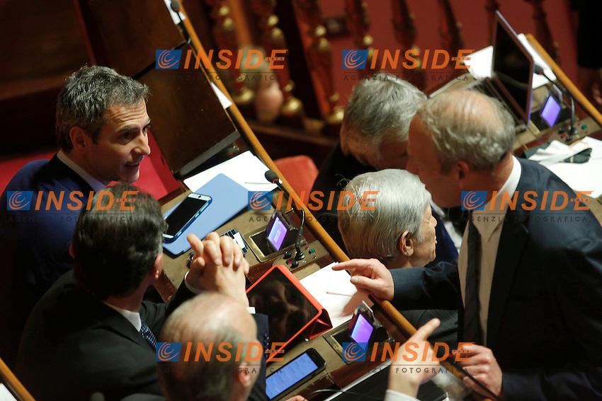 Lorenzo Battista e Karl Zeller<br /> Roma 19-04-2016 Senato. Mozione di sfiducia al Governo da parte del Movimento 5 Stelle, della Lega Nord  di Forza Italia.<br /> Photo Samantha Zucchi Insidefoto