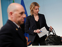 Marianna Madia<br /> Roma 26/01/2018. Conferenza stampa sul rinnovo dei contratti per il comparto sicurezza e difesa.<br /> Rome January 26th 2018. Press conference on after the renewal of security and defense contracts.<br /> Foto Samantha Zucchi Insidefoto