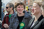 Charlotte George, Green Party parliamentary candidate for Hackney South and Shoreditch, with party leader Natalie Bennett, Ridley Road market, Dalston, London.