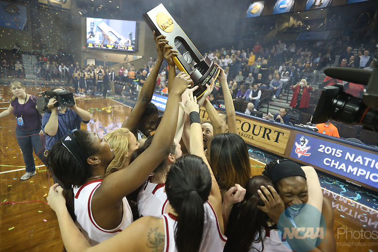 27 MAR 2015:  California (Pa.) celebrates after defeating California Baptist University during the Division II Women's Basketball Championship held at the Sanford Pentagon in Sioux Falls, SD. California (Pa.) defeated Cal Baptist 86-69 for the national title.  Richard Carlson/NCAA Photos