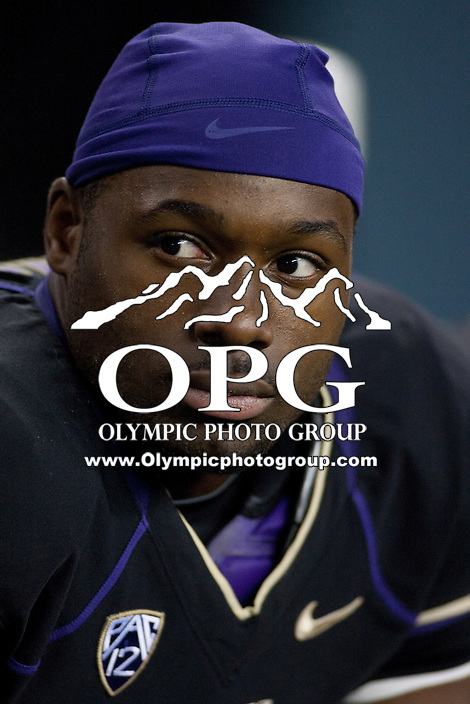 NOV 10, 2012: Washington's #2 Kasen Williams takes a breather on the bench against Utah.  Washington won 34-15 over Utah at CenturyLink Field in Seattle, WA...