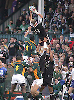 New Zealand skipper Chris Smith stretches to claim this lineout ball during the U19 Championship final against South Africa at Ravenhill, Belfast.