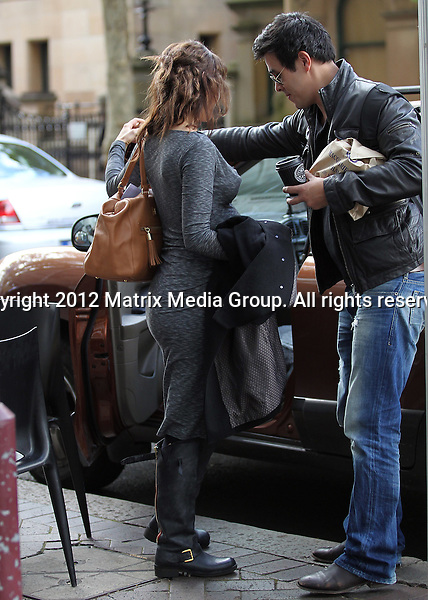 30 April 2012 Sydney, Australia..***EXCLUSIVE***..Jessica Marais and fiance James Stewart visit their obstetrician in the city. The couple are later pictured in Crows Nest where they visited a lawyers office and bought a celebration cake at a local bakery. As they left the shop Jessica was in awe of two mothers passing by with their strollers and struck up a conversation.