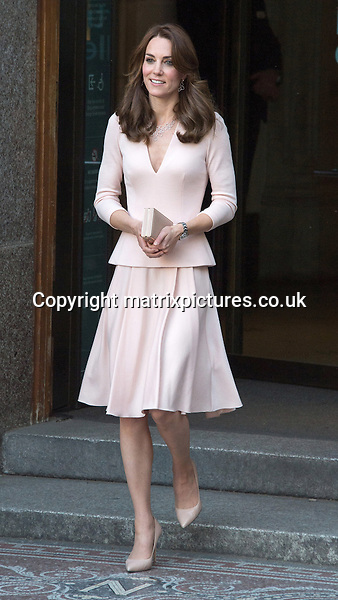 NON EXCLUSIVE PICTURE: MATRIXPICTURES.CO.UK<br /> PLEASE CREDIT ALL USES<br /> <br /> WORLD RIGHTS <br /> <br /> Catherine, Duchess of Cambridge is pictured after viewing the Vogue 100: A Century of Style exhibition at the National Portrait Gallery in London.<br /> <br /> Middleton was photographed by Josh Olins for the UK edition of Vogue magazine and two of the portraits are now on show as part of the exhibition at the gallery.<br /> <br /> Kate wears a pretty pink Alexander McQueen peplum dress which has a deep v-neck. <br />  <br /> MAY 4th 2016<br /> <br /> REF: JWN 161254
