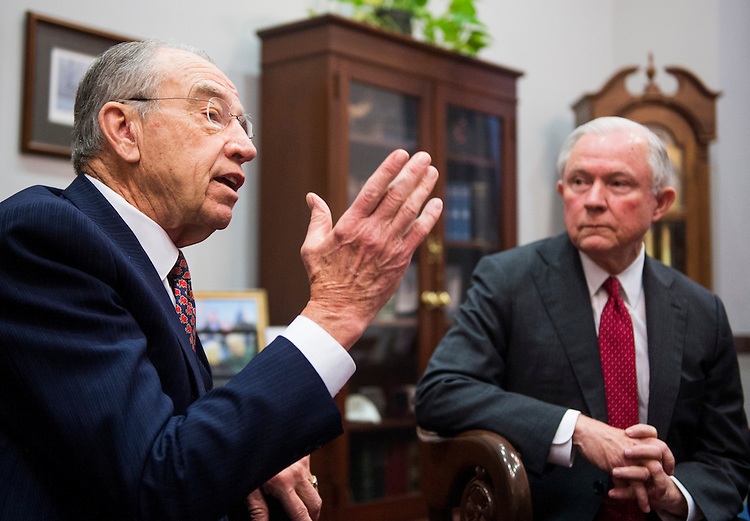 UNITED STATES - NOVEMBER 29: Senate Judiciary chairman Sen. Chuck Grassley, R-Iowa, left, meets with fellow committee member and Attorney General nominee Sen. Jeff Sessions, R-Ala., in his Capitol Hill office on Tuesday, Nov. 29, 2016. (Photo By Bill Clark/CQ Roll Call)