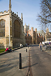 View to St John's college along Trinity Street, Cambridge, England with Trinity College chapel in foreground