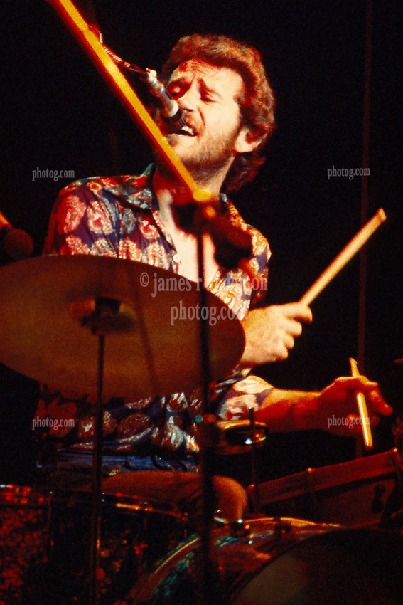 Levon Helm, drummer, writer and vocalist, performing with The Band at the Westchester Premier Theater 13 July 1976. Cropped from the original slide scan as seen in the main gallery of this show.