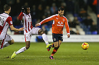 Luke Gambin of Luton Town (right) under pressure from Liam David of Cheltenham Town (2nd right) during the Sky Bet League 2 match between Luton Town and Cheltenham Town at Kenilworth Road, Luton, England on 31 January 2017. Photo by David Horn / PRiME Media Images