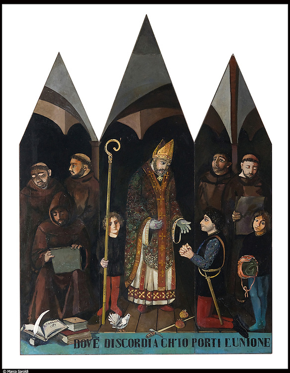 Dipinti di Francesco Tabusso per Chiesa di San Francesco al Fopponino a Milano, progettata da Giò Ponti.