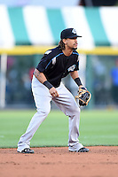 Syracuse Chiefs shortstop Emmanuel Burriss (2) during a game against the Buffalo Bisons on July 23, 2014 at Coca-Cola Field in Buffalo, New  York.  Syracuse defeated Buffalo 5-0.  (Mike Janes/Four Seam Images)