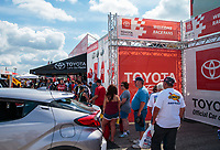 Sep 1, 2018; Clermont, IN, USA; NHRA fans at Toyota pit pass display on midway during qualifying for the US Nationals at Lucas Oil Raceway. Mandatory Credit: Mark J. Rebilas-USA TODAY Sports