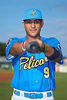 Myrtle Beach Pelicans catcher Miguel Amaya (9) poses for a photo prior to the game against the Winston-Salem Dash at TicketReturn.com Field on May 16, 2019 in Myrtle Beach, South Carolina. The Dash defeated the Pelicans 6-0. (Brian Westerholt/Four Seam Images)