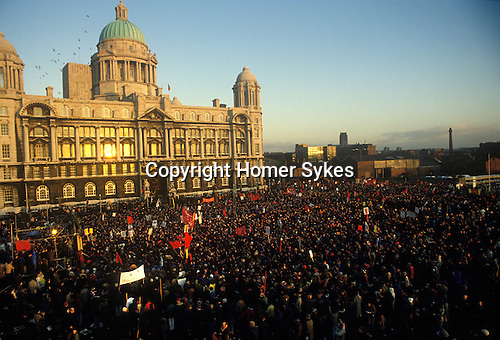 The People's March for Jobs Right to Work Rally Liverpool Lancashire UK 1981.