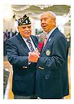 Merrick Post 1282 Commander Edward R. Sholander, and Post 1282 Past Commander Robert Wieboldt joking around during American Legion's Fifth Annual Military Ball/Post Commanders Night at the Stuart Thomas Manor, Farmingdale, New York, USA, on Saturday, February 18, 2012.
