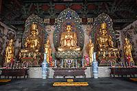 Inside view of the Mahavira Hall (Hall Of Ceremony), Huayan Monastery, Datong, China