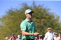 Justin Thomas (USA) walks off the 9th tee during Saturday's Round 3 of the Waste Management Phoenix Open 2018 held on the TPC Scottsdale Stadium Course, Scottsdale, Arizona, USA. 3rd February 2018.<br /> Picture: Eoin Clarke | Golffile<br /> <br /> <br /> All photos usage must carry mandatory copyright credit (&copy; Golffile | Eoin Clarke)