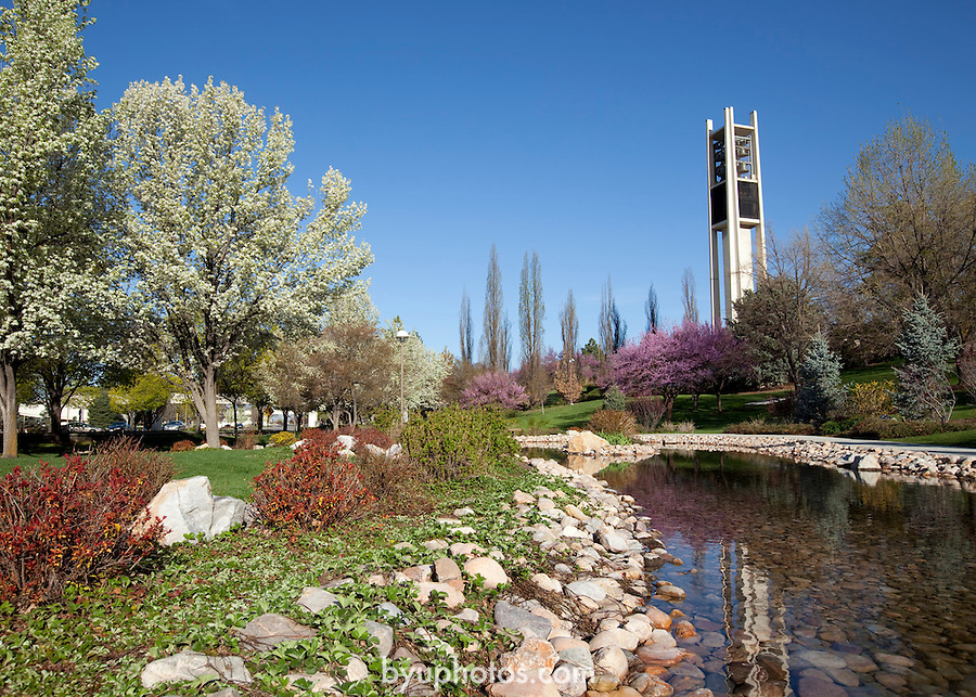 1004-61 014<br /> <br /> 1004-61 GCS Spring<br /> <br /> BELL, Bell Tower, Pond, <br /> <br /> April 26, 2010<br /> <br /> Photography by Jaren Wilkey/BYU<br /> <br /> &copy; Jaren Wilkey 2010<br /> All Rights Reserved<br /> jaren@byu.edu  (801)592-7585