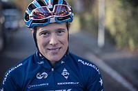 Katie Compton (USA/KFC Racing p/b Trek/Panache) pre race.<br /> <br /> women's elite race<br /> Flandriencross Hamme / Belgium 2017