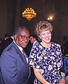 Judge Clarence Thomas, left, and his wife, Virginia, right, arrive for the hearing before the US Senate Judiciary Committee to confirm him as Associate Justice of the US Supreme Court in the US Senate Caucus Room in Washington, DC on September 10, 1991.  Thomas was nominated for the position by US President George H.W. Bush on July 1, 1991 to replace retiring Justice Thurgood Marshall.<br /> Credit: Arnie Sachs / CNP