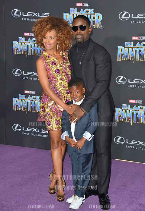 Sterling K. Brown, Ryan Michelle Bathe &amp; Son at the world premiere for &quot;Black Panther&quot; at the Dolby Theatre, Hollywood, USA 29 Jan. 2018<br /> Picture: Paul Smith/Featureflash/SilverHub 0208 004 5359 sales@silverhubmedia.com