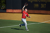 Gardner-Webb Runnin' Bulldogs right fielder Corey Howard (16) tracks a fly ball into foul territory during the game against the Wake Forest Demon Deacons at David F. Couch Ballpark on February 18, 2018 in  Winston-Salem, North Carolina. The Demon Deacons defeated the Runnin' Bulldogs 8-4 in game one of a double-header.  (Brian Westerholt/Four Seam Images)