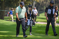 Patrick Reed (USA) and his wife Justine make their way off the 16th tee during the preview of the World Golf Championships, Mexico, Club De Golf Chapultepec, Mexico City, Mexico. 2/28/2018.<br /> Picture: Golffile | Ken Murray<br /> <br /> <br /> All photo usage must carry mandatory copyright credit (&copy; Golffile | Ken Murray)
