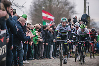 World Champion Peter Sagan (SVK/Bora Hansgrohe) chasing on the cobbles of the 'oude kwaremont'<br /> <br /> 61th E3 Harelbeke 2018 (1.UWT)<br /> 1day race: Harelbeke &rsaquo; Harelbeke - BEL (206km)