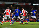 Arsenal's Laurent Koscielny scoring his sides opening goal<br /> <br /> Barclays Premier League- Arsenal vs Leicester City  - Emirates Stadium - England - 10th February 2015 - Picture David Klein/Sportimage