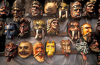 Wooden ceremonial masks for sale in Antigua, Guatemala