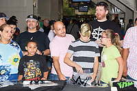 People gather around WWE merchandise kiosks in the arena concourse a WWE Live Summerslam Heatwave Tour event at the MassMutual Center in Springfield, Massachusetts, USA, on Mon., Aug. 14, 2017.