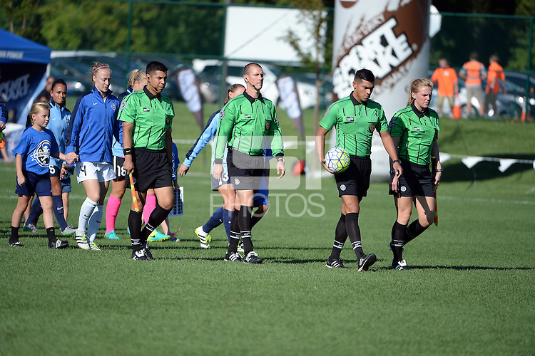 Kansas City, MO - Sunday September 04, 2016: Victor Rivas, Francisco Bermudez, Amber O'Connor, Devin Blazek prior to a regular season National Women's Soccer League (NWSL) match between FC Kansas City and the Sky Blue FC at Swope Soccer Village.