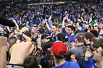 SIOUX FALLS, SD: MARCH 7: Mike Daum, center, celebrates with fans the Jackrabbits 79-77 win over Omaha after the Men's Summit League Basketball Championship Game on March 7, 2017 at the Denny Sanford Premier Center in Sioux Falls, SD. (Photo by Dave Eggen/Inertia)
