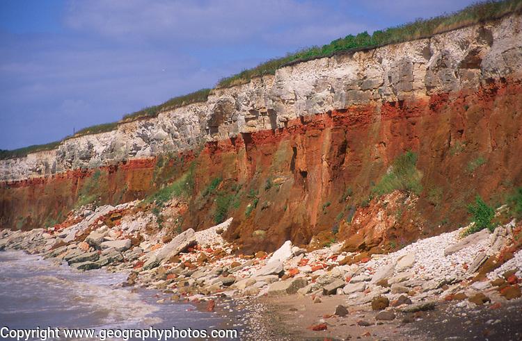 AE2KR2 Cliffs of striped sedimentary rock at Hunstanton Norfolk England