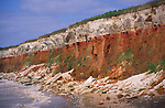 AE2KR2 Cliffs of striped sedimentary rock at Hunstanton Norfolk England