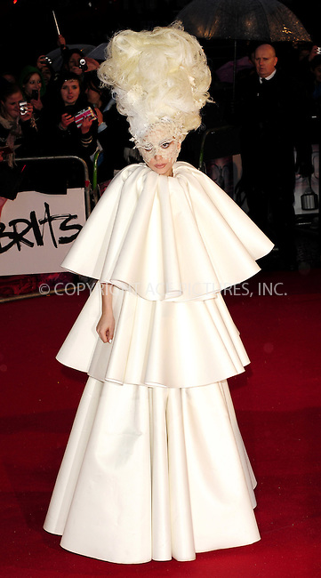 WWW.ACEPIXS.COM . . . . .  ..... . . . . US SALES ONLY . . . . .....February 16 2010, London....Lady Gaga arriving at The Brit Awards at Earls Court on February 16, 2010 in London, England. ....Please byline: FAMOUS-ACE PICTURES... . . . .  ....Ace Pictures, Inc:  ..Tel: (212) 243-8787..e-mail: info@acepixs.com..web: http://www.acepixs.com