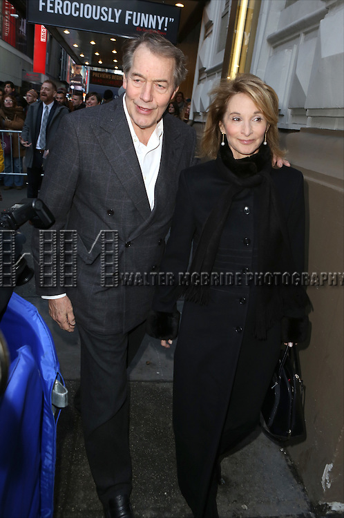 Charlie Rose and Amanda Burden attends the Broadway Opening Night Performance of 'The Audience' at The Gerald Schoendeld Theatre on March 8, 2015 in New York City.