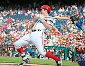 Washington Nationals second baseman Daniel Murphy (20) fall back and out of the way of a pitch in the seventh inning against the New York Mets at Nationals Park in Washington, D.C. on Sunday, April 30, 2017.  The Nationals won the game 23 - 5.<br /> Credit: Ron Sachs / CNP