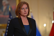 July 30, 2013  (Washington, D.C.)  Israeli Justice Minister Tzipi Livni  at the Department of State before Middle East peace talks with Palestinian Chief Negotiator Dr. Saeb Erekat in Washington, D.C. (Photo by Don Baxter/Media Images International)