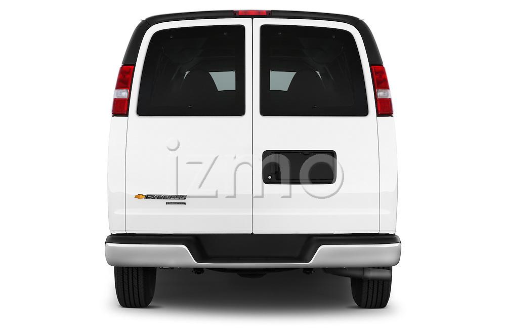 Straight rear view of a 2014 Chevrolet Express 2500 LS 2 Door Van stock images