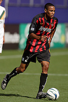 The MetroStars' Ricardo Clark. The LA Galaxy were defeated by the NY/NJ MetroStars 2 to 1 at Giant's Stadium, East Rutherford, NJ, on June 19, 2004.