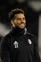 Cyrus Christie of Fulham FC warms up during the Sky Bet Championship match between Fulham and Sheff United at Craven Cottage, London, England on 6 March 2018. Photo by Carlton Myrie.