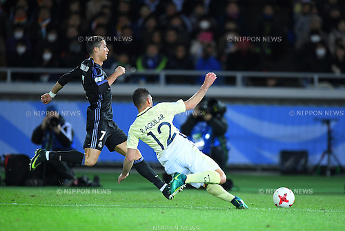 (L-R) Cristiano Ronaldo (Real), Pablo Aguilar (America), <br /> DECEMBER 15, 2016 - Football / Soccer : <br /> FIFA Club World Cup Japan 2016 Semi Final match between <br /> Club America 0-2 Real Madrid <br /> at Yokohama International Stadium, Kanagawa, Japan. <br /> (Photo by AFLO SPORT)