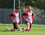 Stefan Scougall of Sheffield Utd Harry Chapman of Sheffield Utd during the Sheffield Utd training session at the Shirecliffe Training Complex , Sheffield. Picture date: September 29th, 2016. Pic Simon Bellis/Sportimage