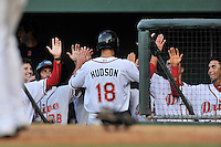 Left fielder Bryan Hudson (18) of the Greenville Drive is congratulated after scoring in a game against the Greensboro Grasshoppers on Thursday, August 27, 2015, at Fluor Field at the West End in Greenville, South Carolina. Greenville won, 10-2. (Tom Priddy/Four Seam Images)
