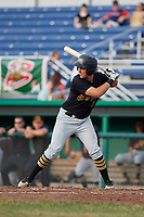 West Virginia Black Bears catcher Zach Susi (3) at bat during a game against the Batavia Muckdogs on July 2, 2018 at Dwyer Stadium in Batavia, New York.  West Virginia defeated Batavia 3-1.  (Mike Janes/Four Seam Images)