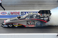 Apr. 15, 2012; Concord, NC, USA: NHRA funny car driver Blake Alexander during eliminations for the Four Wide Nationals at zMax Dragway. Mandatory Credit: Mark J. Rebilas-